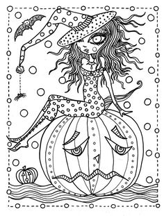 5 Pages Halloween Instant Downloads Pictures To Color And Create Adult Coloring For All Ages
