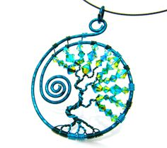 Swarovski Tree of Life Teal and Blue wire with by CarrieEastwood, $40.00
