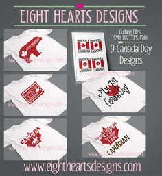 9 Pack Collection Canada Day Designs - SVG Design Cutting File, png eps dxf, great for tshirts and totes and mugs Canada Day Shirts, Digital Form, Commercial Design, Consumer Products, Design Files, Cutting Files, How To Find Out, Cricut