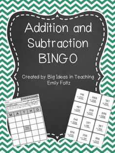 2 and 3 Digit Addition and Subtraction BINGO - 9 Different Classroom Tools, First Grade Classroom, 2nd Grade Math, Future Classroom, Third Grade, Classroom Ideas, The Calling, Calling Cards, Subtraction Across Zeros