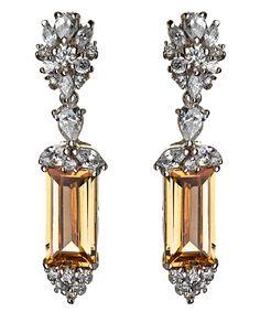 Deco Citrine & Diamond Earrings