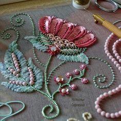 "283 Likes, 11 Comments - Natalia Sorokina (@nataliasorokina25) on Instagram: ""Мой цветочек из авторского курса люневильский крючоу и игла. #embroidery #вышивка #embroidered…"""