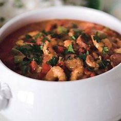 A cook's dream:  The base is made ahead, and the shrimp are added at the last minute. Best of all, the gumbo tastes even better the second day.