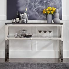 Classic Parsons Buffet in polished stainless. Available in a choice of 5 tops. Also in dark bronze finish. www.mgbwhome.com