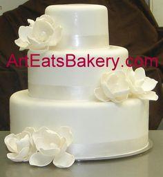 traditional weddings, bakeries, wedding cake designs, white cakes, white wedding cakes, magnolia, sugar flowers, elegant wedding, kid cakes