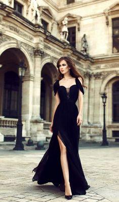 Charming Prom Dresses,Chiffon Prom Dress,Black Prom Dress,Side Slit Prom Dresses,Long Eveing Dress,Formal Dress
