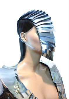 futuristic armour headpiece mask or scifi goggles mask  Made out of rigid mirror pvc and can be used as funcional eyewear.  This listing is for the