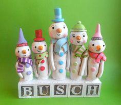 Personalized Snowman Family on Last Name Blocks - clay  folk art sculpture. $65.00, via Etsy.