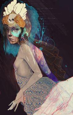 Amazing digital portrait illustrations by Kelsey Beckett. Painting Inspiration, Art Inspo, Kelsey Beckett, Dragons, Web Design, Portrait Illustration, Digital Illustration, Wolf, Graphic