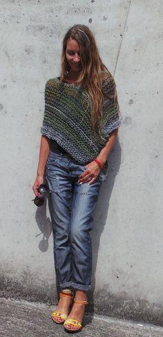 green grey poncho / loose knit  poncho by ileaiye on Etsy