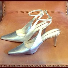 "Ankle strap pump Silver ankle strap pump 3"" heel few hardly noticeable scratch,but never worn Enzo Angiolini Shoes Heels"