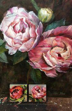 * by Kim Black South African Artists, Black Artists, Art Tips, Artist Art, Flower Art, Peonies, Drawings, Floral, Flowers