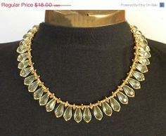 ON SALE Pale Yellow Teardrop Necklace Citrine by VogueVille, $13.50 #EcoChic #TeamLove #Vintage #Fashion #Jewelry