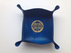 Blue leather tray by Konch Crafts