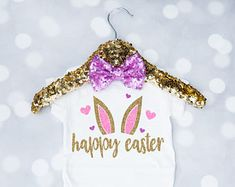 Baby Girl's Happy Easter Bunny Shirt, Toddler Easter Outfit, Happy Easter, My First Easter, Newborn Easter Onesie, Bunny Shirt, Toddler