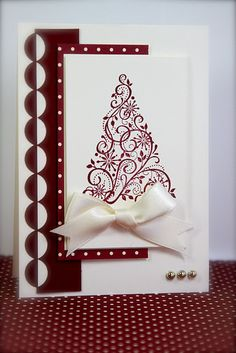 Stampin' Up! Christmas card ... deep red and white ... swirls Christmas tree image ... luv the positive/negative border made with scalloped border die ... wonderful!