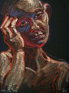 """Fred Hatt - Amy, 5/3/01, 70 x 50 cm, """"drawn with aquarelle crayons, working directly from life, the scale larger than life."""""""
