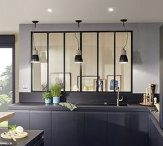 I thought a window with iron bars between the kitchen and the dining room could be a nice reminder of the iron also part of other room in your apartment. Just an idea ! Minimalist Kitchen Design, House Design, New Homes, Interior Windows, Bars For Home, Home, Small Kitchenette, Home Deco, Home Decor