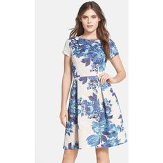Adrianna Papell Floral Matelasse Fit & Flare Dress ($196) ❤ liked on Polyvore
