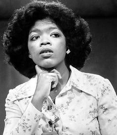 """A 1976 picture of Oprah Winfrey on the set of Channel 13/WJZ's """"Eyewitness News""""....."""