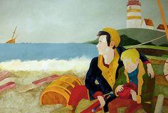 """""""El chico del faro"""", 2013 Técnica mixta sobre papel, 90x60 cm   De ser la travesía del mar una metáfora del viaje que traza la vida, la luz del faro sería un símbolo de aquellos que intentan señalarnos un camino, abrirnos paso frente a la incertidumbre. Suya es la llama que tiembla entre las tinieblas, suya es la mirada acogedora o la mano, que tendida hacia nosotros, nos recata de nuestro propio naufragio, sin esperar recompensa alguna.   Mi agradecimiento y recuerdo es y será para todos…"""