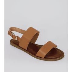 New Look Wide Fit Tan Double Strap Sandals ($26) ❤ liked on Polyvore featuring shoes, sandals, tan, vegan sandals, vegan shoes, wide sandals, new look shoes and tan shoes