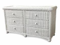 Wicker 6 Drawer Dresser White Wicker Bedroom Furniture