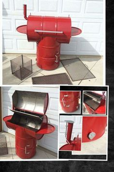 Ugly drum smoker and BBQ. Side shelves fold down charcoal tray for top to bbq. All custom made and selling. on etsy. Diy Smoker, Barbecue Smoker, Homemade Smoker, Bbq Grill, Barrel Projects, Welding Projects, Oil Drum Bbq, Ugly Drum Smoker, Barrel Smoker