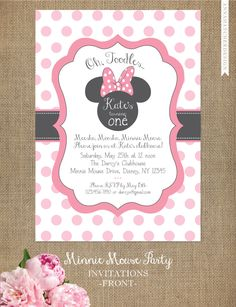 Minnie Mouse Party Invitations - 30 Minnie Mouse Party Invitations , Chalkboard Birthday Invitation Custom by Tamiraycardsandprint Minnie Mouse Birthday Invitations, Minnie Mouse 1st Birthday, Minnie Mouse Theme, Pink Minnie, Mickey Mouse, First Birthday Parties, First Birthdays, Birthday Ideas, Birthday Diy