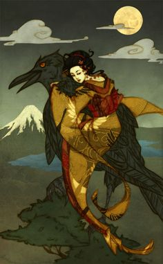 Illustration of a Japanese fairy tale wherein a girl befriends a crow demon in order to save the soul of her sister.