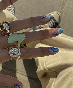 Nail Design Stiletto, Nail Design Glitter, Fimo Ring, Acylic Nails, Nail Jewelry, Jewellery, Nail Ring, Funky Nails, Fire Nails
