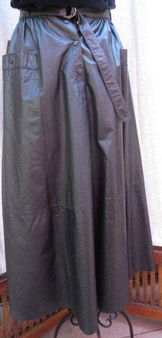 Vtg black leather West Bay skirt  size small/medium Saks Fifth Avenue 80th #SaksFifthAvenue #FullSkirt