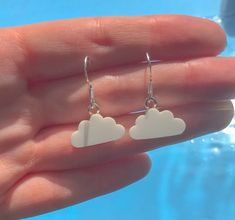 White Cloud Drop Earrings - Acrylic Earrings, Drop Earrings, Cloud Earrings, Statement Earrings - Miss Fortune Handmade Jewellery Funky Earrings, Funky Jewelry, Ear Jewelry, Diy Earrings, Cute Jewelry, Jewelry Accessories, Jewlery, Gothic Jewelry, Earrings Handmade