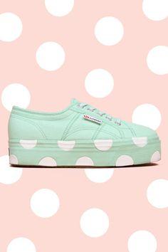 House of Holland, SUPERGA Platform Polka-Dot Sneakers