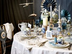 http://www.oliviapalermo.com lovely table setting in blue and white