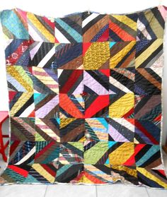 "Vintage 80X70"" QUILT Machine Sewn - HAND QUILTED - MADE FROM MEN'S NECK TIES!"