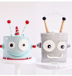 Dinosaur Birthday Party, 4th Birthday Parties, 3rd Birthday, Robot Cake, Robot Cupcakes, Party Mottos, Cakes For Boys, Creative Cakes, Celebration Cakes