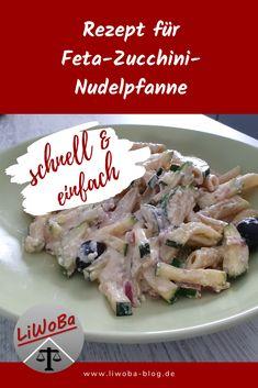 Da ich so oft predige, wie wichtig gesunde Ernährung ist und dass man trotz des täglichen Stresses Wert auf eine vernünftige Mahlzeit legen sollte, habe ich mir gedacht, es ist Zeit für ein Rezept! Das Gericht ist im Wesentlichen gesund, vor allem die Variante mit den Vollkornnudeln, und ganz einfach und schnell zu kochen. Man braucht nur wenige Zutaten.  #einfach #Feta #Gericht #gesund #kochen #Nudeln #Rezept #schnell #vegetarisch #Zucchini