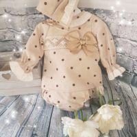 Baby Girls camel spotted dress with matching knickers and bonnet
