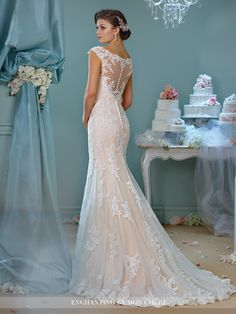 Enchanting by Mon Cheri - 216159 - Tulle and lace fit and flare gown with cap sleeves, lace and hand-beaded illusion bateau neckline over a sweetheart bodice, illusion and lace back with covered buttons, scalloped hemline, chapel length train. Sizes: 0 - 20 Ivory/Spun Gold, Ivory, White