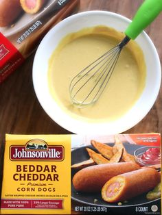 johnsonville beddar cheddar corn dogs with honey mustard sauce for dipping Honey Mustard Dip, Homemade Honey Mustard, Sausage On A Stick, Sausage Recipes, Bread Recipes, Homemade Sauce, Unique Recipes, Corn Dogs, Healthy Recipes