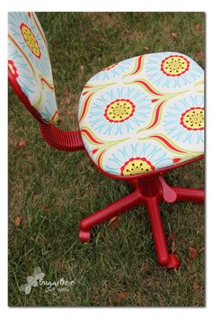 I did green paint and a floral fabric... it makes me want to run out and get a bunch of ugly old chairs and upcycle them!     pro-tip: make sure you can take your computer chair apart... if you can't... you can't do this.