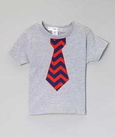 Another great find on #zulily! Heather Gray & Red Chevron Tie Tee - Infant, Toddler & Boys by little bits #zulilyfinds