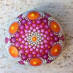 Hand Painted Pink Mandala Sea Stone