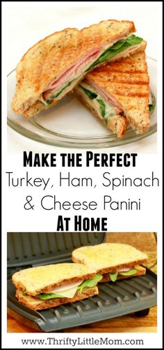 Looking for a quick and easy week night supper idea? Try making one of these super easy turkey, ham, spinach & cheese Panini Recipe! Grill Sandwich, Panini Grill, Panini Sandwiches, Healthy Sandwiches, Soup And Sandwich, Panini Press, Panini Sandwich Recipes, Panini Maker, Vegetarian Sandwiches