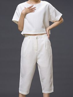 White Short Sleeve Loose T-shirt With Cropped Pants