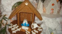 gingerbread nativity: Each year, the Nativity is a very special part of our gingerbread village, as it symbolizes the true meaning of Christmas.  The walls and roofs of the
