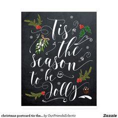 christmas postcard tis the season to be jolly