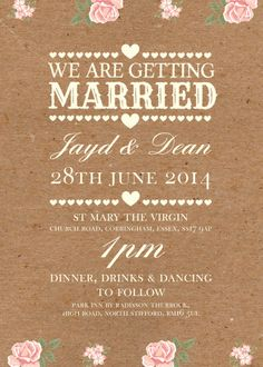 50 Personalised Rustic Vintage / Country Shabby Chic Wedding Invitations!