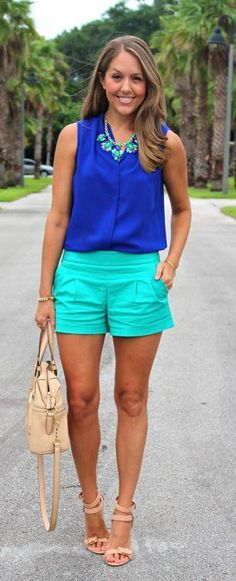 Everyday Fashion: Summer Lovin' Cobalt top, turquoise shorts and statement necklace.great color comboCobalt top, turquoise shorts and statement necklace. Style Outfits, Mode Outfits, Short Outfits, Spring Outfits, Casual Outfits, Fashion Outfits, Summer Outfits For Vacation, Summer Outfits Women Over 30, Dress Casual